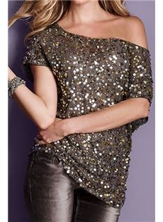 Seductive Off-shoulder Gray Glistening Sequin Tops