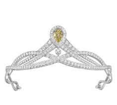 Chaumet Joséphine Collection tiara in platinum, paved with brilliant- and baguette-cut diamonds, set with a pear-cut fancy yellow diamond