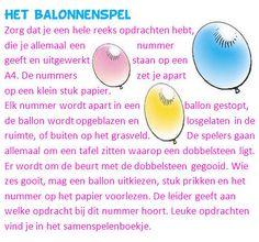 Een spel met ballonnen voor tieners, met grappige opdrachten die uitgevoerd moeten worden.