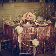 pink and gold wedding reception | Pink and Gold Reception Table