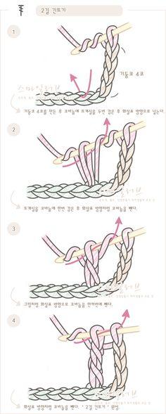 푸미스토리 손뜨개 뜨개실 털실 핸드메이드샵 - 코바늘 강좌 [[2길 긴뜨기]코바늘 도안기호와 뜨는 방법. 뜨개질(손뜨개) 무료강좌]