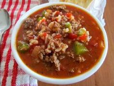 Stuffed Bell Pepper Soup, made for dinner tonight. I skipped the garlic, but we liked it and will make it again.