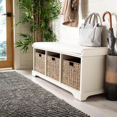 Crafted of pine in a handsome white finish, this Safavieh Lonan White Storage Bench is a perfect accent for any home decor. White Storage Bench, Storage Bench With Cushion, Cubby Storage, Upholstered Storage Bench, Storage Bench Seating, Shoe Storage, Tufted Bench, Storage Area, Entry Bench