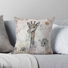 'Abstract Giraffe' Throw Pillow by Adele Buys Get Free Stuff, Stuff To Buy, Canvas Prints, Art Prints, Designer Throw Pillows, Pillow Design, Sell Your Art, Giraffe, Vibrant