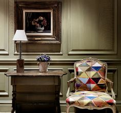 Firmdale Hotels. Absolutely love the fabric on this chair