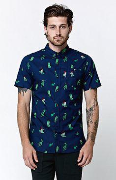 Cactus Short Sleeve Woven Shirt Camisetas Estampadas, Corbatas, Estilo De  Hombre, Arte Têxtil 40f71b838c
