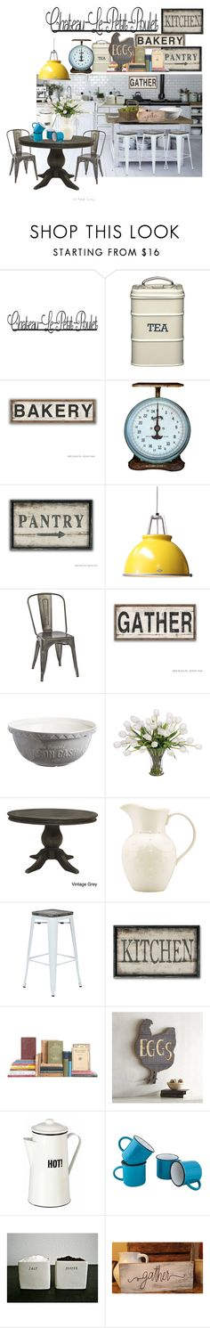"""Gather Kitchen"" by mia-christine ❤ liked on Polyvore featuring interior, interiors, interior design, home, home decor, interior decorating, Original BTC, Office Star, Mason Cash and Lux-Art Silks"