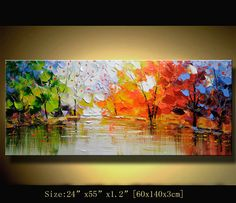 Original Abstract Painting, Modern Textured Painting,Impasto Landscape Textured Modern Palette Knife Painting,Painting on Canvas byChen Size: 24x55x1.2 [60x140x3cm] Stretched thickness: 1.2 (3cm ) Framed / Stretched ( Ready to hang! ) The sides are staple-free and are painted black.