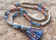 Charm- & Bettelketten - tolle Quastenkette ✿ Buddha ✿ Howlith, Glas, Holz  - ein Designerstück von Lunas-SchmuckART bei DaWanda