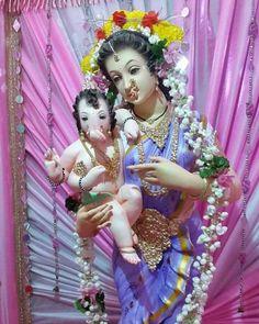My Pretty Delicate Queen Godess Parvati Devi with Cutest Son Ganesha. Shri Ganesh Images, Ganesh Chaturthi Images, Sri Ganesh, Ganesh Lord, Shiva Hindu, Ganesha Pictures, Happy Ganesh Chaturthi, Navratri Wallpaper, Krishna Temple