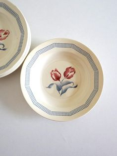 6 Vintage Art Deco Soup Plates with Tulip Decor  French