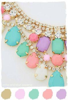 #color #palette #necklace #pastel #gold #statement #bib #pink #aqua anna and blue paperie