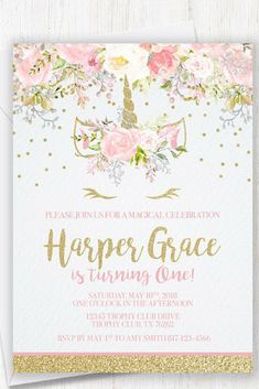 Pink and Gold Unicorn Invitation, Floral Unicorn Invitation, Magical Birthday Invitation, Blush Pink Unicorn Invite, Unicorn Face, Flowers #ad