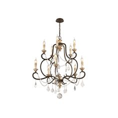 This 10-light chandelier fixture comes in a parisian bronze finish. This ceiling mount chandelier is made of hand-worked wrought iron material.
