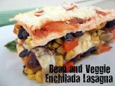Bean and Veggie Enchilada Lasagna