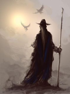 """The Eddic poem Grímnismál mentions Odin's thoughts on Hugin and Munin:  Hugin and Munin Fly every day Over all the world; I worry for Hugin That he might not return, But I worry for Munin more.  The names Hugin and Munin are commonly translated as """"thought"""" and """"memory"""" respectively.  ARTIST>>>>????"""