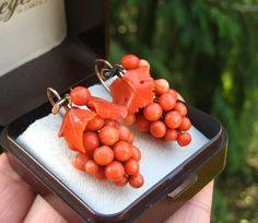 Big RARE Victorian Deep Orange Carved Coral Grapes Leaves Pendant Earrings | eBay