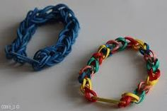Rubber-band Bracelets  Very easy to make and ready to wear in a matter of minutes :-) Great fun to make! But if you're going to make them, make sure that you use enough rubber bands. The bracelet must be loose on your wrist.