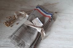 Set of 6 rustic French linen napkins with optional stamp printing Character Words, Flax Plant, Stamp Printing, Rustic French, Linen Napkins, Contemporary Interior, Tea Towels, Blue Flowers, Hand Stamped