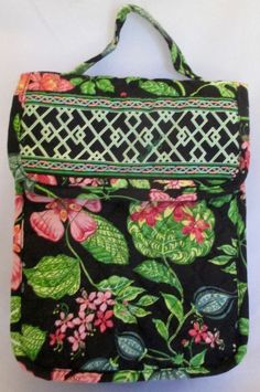 New Vera Bradley Plastic Lined Quilted Lunch Box Black Green Floral #VeraBradley