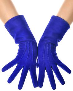 Blue Suede Mid Length Leather Gloves by LesDebutantes on Etsy Yves Klein, Caterpillar Costume, Blue Gloves, Hand Gloves, Dress Gloves, Wardrobe Basics, Color Azul, Leather Gloves, Electric Blue