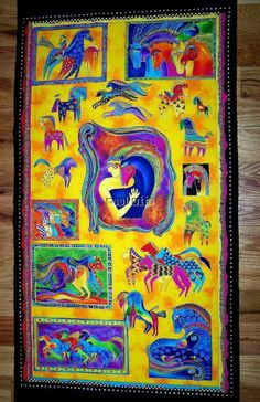 Laurel Burch Fabric Mythical Horse Bright Color Panel 2006