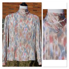 Vintage 80s Pastel Paisley Blouse, Built in Scarf at collar, Gathered shoulders and sleeves, Mockneck, Tailored waist, Multi-color, Spring by Have2Shop on Etsy
