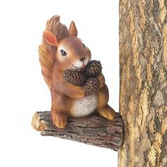 Gathering Squirrel Tree Decor. This busy little squirrel is so happy with his armful of tiny pine cones to stash. It attaches to any tree where you can enjoy viewing him. Made of polyresin for long life. 4 x 3.5 x 5.75 inches high.