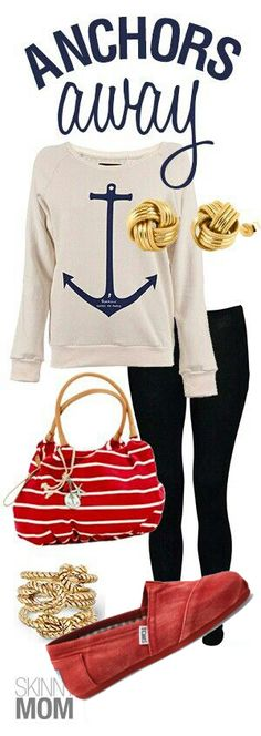 : Anchors Away, Fashion Friday! This preppy outfit is so cute!Pop Culture : Anchors Away, Fashion Friday! This preppy outfit is so cute! Adrette Outfits, Preppy Outfits, Preppy Style, Fall Outfits, My Style, Nautical Outfits, Nautical Fashion, Nautical Style, Cute Fashion