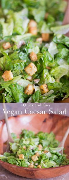 Quick and easy vegan caesar salad recipe with tofu. Make this healthy salad recipe for lunch or for dinner appetizer. Has vegan salad dressing and vegan Parmesan
