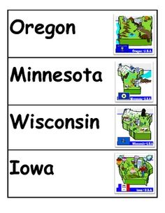 I have included 13 pages of color picture/word cards for all of the states in the U.S.A. Each card has the state name in bold and includes a detail...