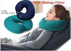 Neck massager u elétrica travesseiro almofada massageador Seis-velocidade ajustável pescoço massageador travesseiro verde ou azul escuro
