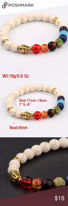 BRAND NEW RAINBOW BUDDHA BRACELET MARBLE STRETCH Stretch bracelet with gold Buddha head and rainbow beads Jewelry Bracelets