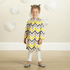 Check out this Yellow Gray Chevron Minky Charlotte Dress for $32 or find your favorite gifts at Lolly Wolly Doodle. Click on the link to receive three dollars off your next order!