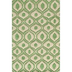 Modern Waves Green Hand-Tufted Rug