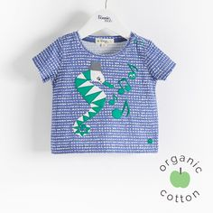 "The Bonnie mob SS16 - The Life Aquatic. LOONY Organic Cotton Navy Seahorse Kids and Baby Unisex T-Shirt. Our little geometric seahorse is making music as he goes on his adventure on our t shirt. Applique embroidery design on a base printed ""bubbles' design. 100% Organic cotton jersey."
