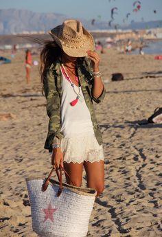 military jacket + lace skirt