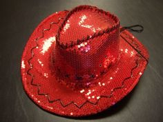 Sequin Covered Cowgirl w/Stitching & Tie-down / Red / Red Hat Lady Society $19.99