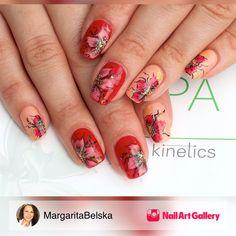 Gel Polish Nail Art by MargaritaBelska via Nail Art Gallery #nailartgallery #nailart #nails #floral #freehand #gelnailsandart #gelpolish