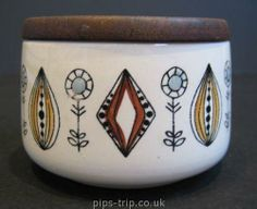 1950's Egersund (Norway) Pottery Sugar Bowl with Wooden Lid - JP