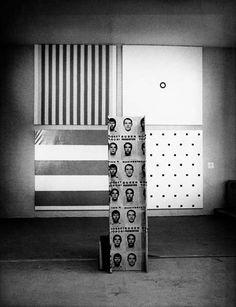 """BMPTManifestation 4, in """"Cinquième Biennale de Paris"""". De gauche à droite, et de haut en bas, les oeuvres de Daniel Buren, Olivier Mosset, Michel Parmentier, Niele Toroni.  © Photo Bernard Boyer, Paris"""