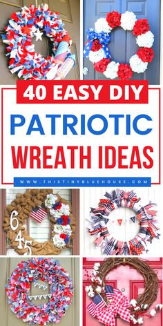 40 Patriotic DIY Dollar Store Of July wreaths Fathers Day Crafts, Diy Crafts For Kids, Diy Craft Projects, Craft Ideas, Decor Ideas, Patriotic Decorations, Summer Diy, Diy On A Budget, 4th Of July Wreath
