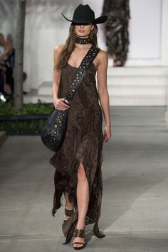 Love this Brown Spaghetti Strapped Long Dress with a Handkerchief Style Hemline by  Ralph Lauren, Look #11