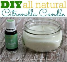 DIY all natural citronella candle ( I love the idea of making these in a little jar and giving them as gifts for a wedding or Christmas-you could use any scent you wanted too!