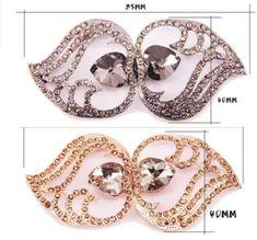 1 Pair Crystal Wedding Bridal Ribbon Sash Buckle Closure Hook and Eye Clasp
