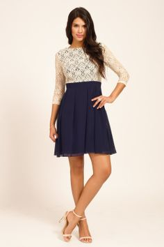 Cream & Navy Lace Detail Long Sleeve Skater Dress