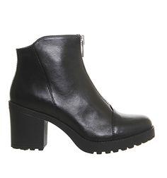 Vagabond Grace Front Zip boots Black Leather - Ankle Boots