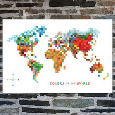 Pixel Map 'Colors of the World' Lithography Print by TofufuStudio, $80.00
