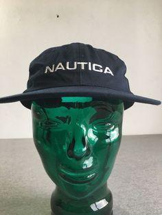 NAUTICA Hat 90s Strapback Vtg Hip Hop Sailing Cap Cotton Competition Spell  out  Nautica   9133a226493c