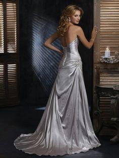 Classic Sheath Silver Satin Ruche Bust Line Strapless Sweetheart Sleeveless Wedding Dress BACK